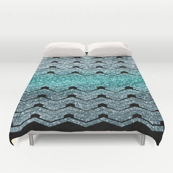 Pattern teal sparkles Duvet Cover by VanessaGF