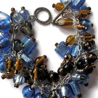 beaded bracelet brown blue silver chain glass lamp work jewelry