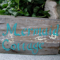 FREE SHIPPING  Hand Painted Mermaid Cottage by carolecollects