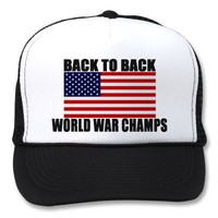American Flag World War Champs Trucker Hat from Zazzle.com