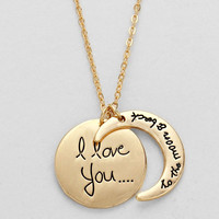 I Love You To The Moon Necklace Gold
