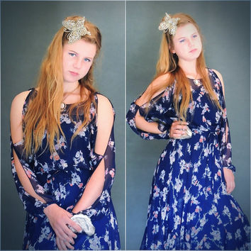 Pretty 1970s prom dress / sheer gauze chiffon day tea gown with cut away sleeves / party frock in deep blue floral