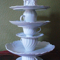 Amazing White Pedestal Serving piece by LaurelWilder on Etsy