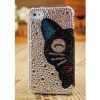 iPhone 4S-4G-3G Stylish Cat Face Crystal Girly Best Case Cover FREE SHIPPING Worldwide