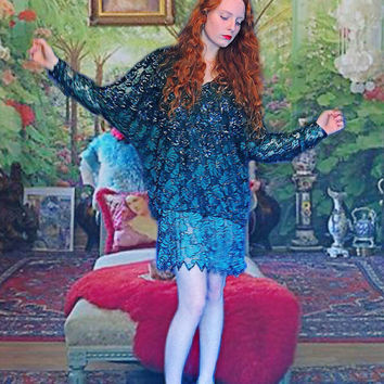 Gorgeous sheer lace beaded dress / Dripping encrusted mini gown in malachite emerald green / peacock party dress stunner