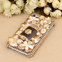 FREE SHIPPING Apple iPhone 4S 4G Bottle To Be With You Flowers Charm Artificial Swarovski Crystals Back Case