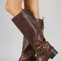 Soda Boss-S Buckle Lace Back Riding Knee High Boot