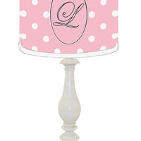 Monogrammed Sweet Pink Polka Dot Lamp Shade and Lamp
