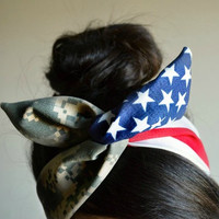 American Camo Dolly bow headband, Military American Flag head band, hair bow, A1
