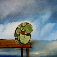 Turtle Painting Nursery Artwork Original Childrens by andralynn
