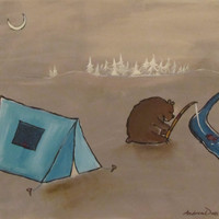 Camping Bear Original Painting Woodland Childrens Art by andralynn