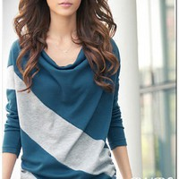 Blue Cotton Korean Fashion Lady Color Spliced Loose Bat Wing Long Sleeves T-Shirt M/L/XL @H4426bl