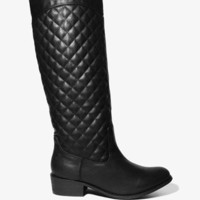 Quilted Faux Leather Boots