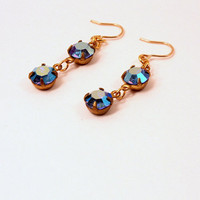 Blue Earrings with Vintage Swarovski Rhinestone Drop, Gold filled Ear Wires