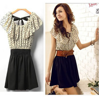 Fashion Japan Korean Women Summer Fashion Short-sleeve Dot Polka Waist Dress Top