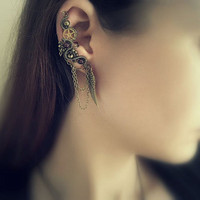 Steampunk Ear Cuff With Chains, Gemstones And Wing Charm