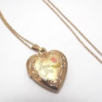 """Beautiful 14k Gold Filled I Love You Heart Locket / Pendant & Link Chain 18"""""""