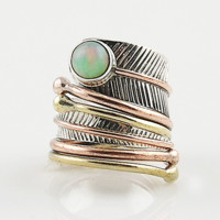 Fire Opal Sterling Silver Three Tone Adjustable Wrap Ring