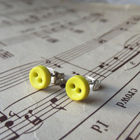 Mini Button Earrings - Tiny Buttons in Sunshine Yellow - Button Earring Studs
