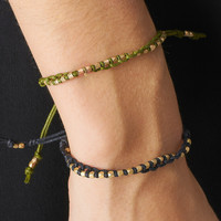 GOLDEN NUGGET FRIENDSHIP BRACELET - OLIVE