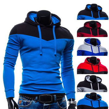 Color Contrast Pull Over Mens Fashion Hoodie SOS