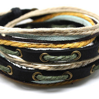 Hand-woven ethnic leather hemp bracelet BD15