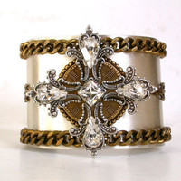 Celtic Cross Gothic Cuff Bracelet -  Swarovski Crystals on Silver and Brass Bracelet - Gothic  Women Jewelry