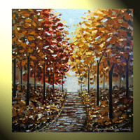 "Original XL Art Painting Palette Knife Autumn Trees Landscape Blue Brown Gold Red Fall Trees Impasto 36x36"" -Christine"