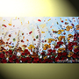 Original Abstract Painting Landscape Textured Autumn Flowers, Art Palette Knife, Fall Poppy Blossoms Modern Red Blue Gold 24x48&quot; -Christine