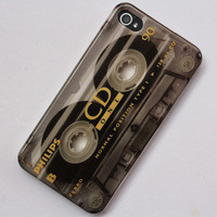 Retro Cassette Magnetic Tape Design Hard Back Cover Case For iPhone 4 4G 4S CD90