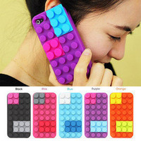 New Brick Block Rubber Silicone Skin Soft Back Case Cover for Apple iPhone 4 4S