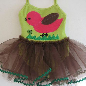 Pink Birdie and Ladybug Leotard Tutu 12/18 months by WhimsyRanch