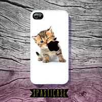 Cute iPhone Case for iPhone 4 or 4S --Kitten Eating Apple Logo - Plastic or Silicone Rubber Case