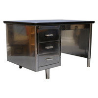 Polished Steel Single Bank Tanker Desk at 1stdibs