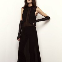 Shakuhachi Black Nouveau Sheer Midi Dress