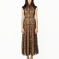 Shakuhachi Black Lace Cap Sleeve Maxi Dress