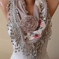 Autumn Scarf - Beige Scarf with Flowered Fabric and Trim Edge - Autumn Scarf - Triangular