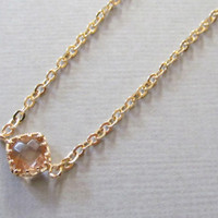 Sale 10% - Champagne Faceted Gold Necklace, 16kt Gold Plated Necklace, Gift for Her