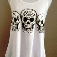 SALE---Mexican Day of the Dead Skulls on Flowy Racerback Tank with Flower Accent