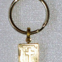 Gold Bible Charm Locket Key Chain with Opening Bible Locket