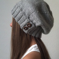 Knit slouchy hat - HEATHER GRAY (more colors available - made to order)