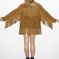 vtg 70s HIPPIE Suede Leather FRINGE BOHO Vest Jacket