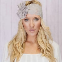 Gray Lacy Headband Wide Lace Head band with Lace Flower