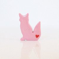 Light Pink Fox Figurine With Red He.. on Luulla