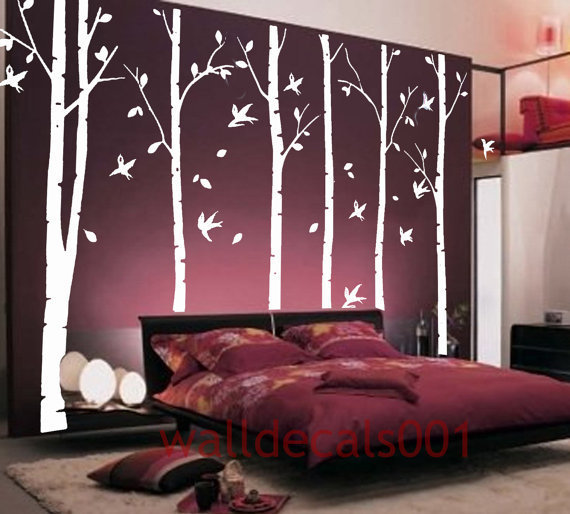 White birch tree wall decal wall sticker from walldecals001 on for White birch tree wall decal decorations