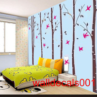 Birch Tree Wall Decal wall Sticker Nature Room decal Birds decal kids decal  decor Art - birds in birch forest -set of 6 100in birch trees