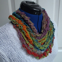 Scarf - Long Skinny Crochet Infinity Cowl Necklace Multicolor Closed loop - Fall colours - Blue - Green - Purple - Red - Orange Autumn