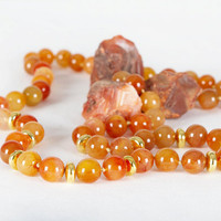 Long beaded necklace, Semi precious necklace, Carnelian beads
