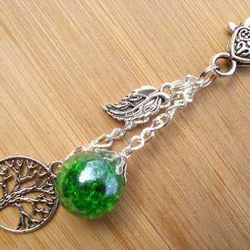 Tree of Life Leaf Green Crackle Glass Marble Keychain