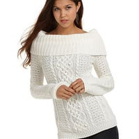 JJ Basics Juniors Sweater, Long Sleeve Popcorn Marilyn Cable Knit - Juniors Sweaters - Macy&#x27;s